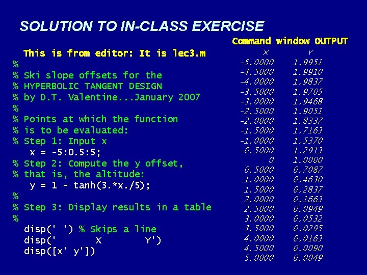 SOLUTION TO IN-CLASS EXERCISE Command window OUTPUT This is from editor: It is lec