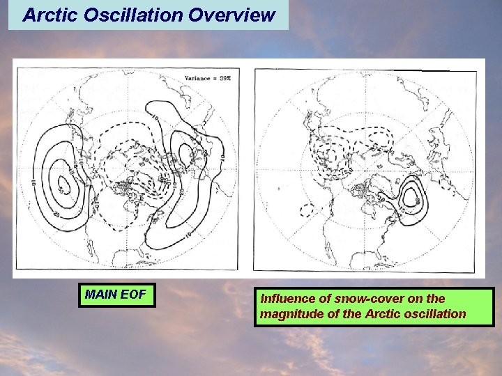 Arctic Oscillation Overview MAIN EOF Influence of snow-cover on the magnitude of the Arctic