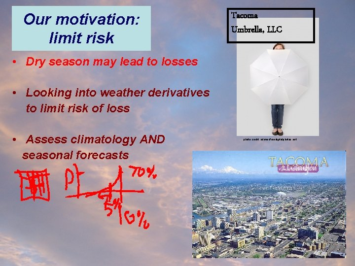 Our motivation: limit risk Tacoma Umbrella, LLC • Dry season may lead to losses
