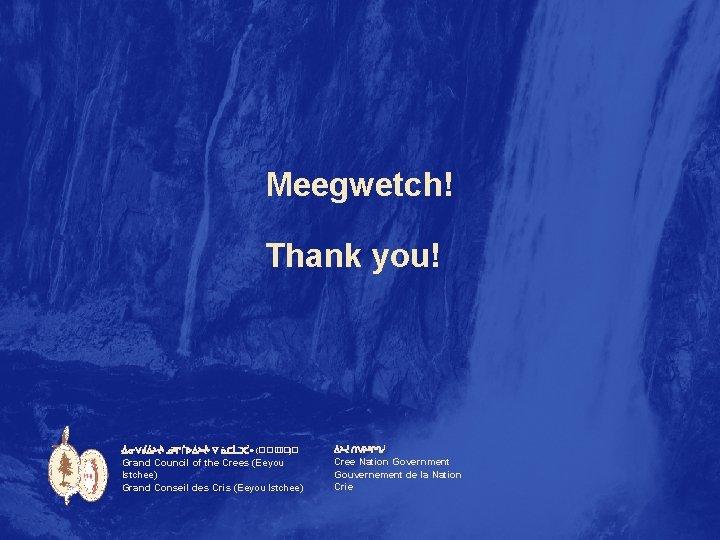 Meegwetch! Thank you! ᐐᓂᐯᑰᐄᔨᔫᒡ ᓅᐦᒋᒦᐅᐄᔨᔫᒡ ᐁ ᓈᑕᒫᑐᑣᐤ (��� ) ᐄᔨᔫ ᑎᐯᔨᐦᒋᒉᓲ Grand Council of