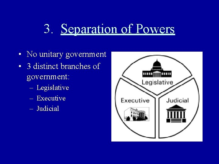 3. Separation of Powers • No unitary government • 3 distinct branches of government: