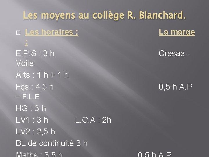 Les moyens au collège R. Blanchard. Les horaires : : E. P. S :
