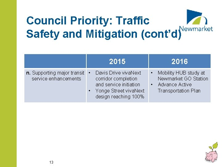 Council Priority: Traffic Safety and Mitigation (cont'd) 2015 n. Supporting major transit • service