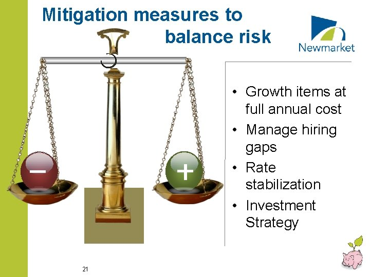 Mitigation measures to balance risk • Growth items at full annual cost • Manage