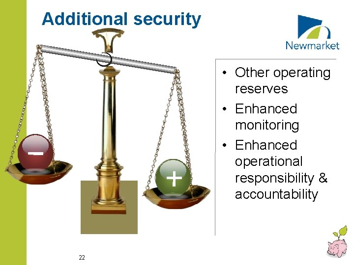 Additional security • Other operating reserves • Enhanced monitoring • Enhanced operational responsibility &