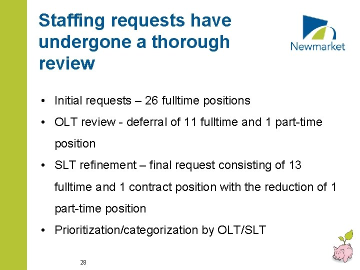 Staffing requests have undergone a thorough review • Initial requests – 26 fulltime positions
