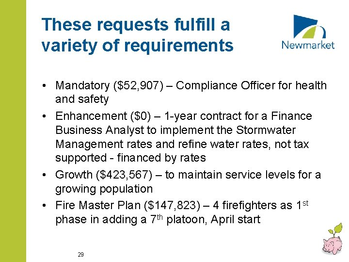 These requests fulfill a variety of requirements • Mandatory ($52, 907) – Compliance Officer