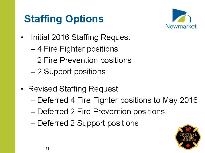 Staffing Options • Initial 2016 Staffing Request – 4 Fire Fighter positions – 2