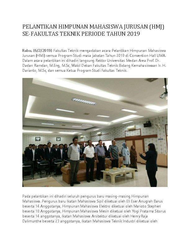 PELANTIKAN HIMPUNAN MAHASISWA JURUSAN (HMJ) SE-FAKULTAS TEKNIK PERIODE TAHUN 2019 Rabu, (6/2/2019) Fakultas Teknik