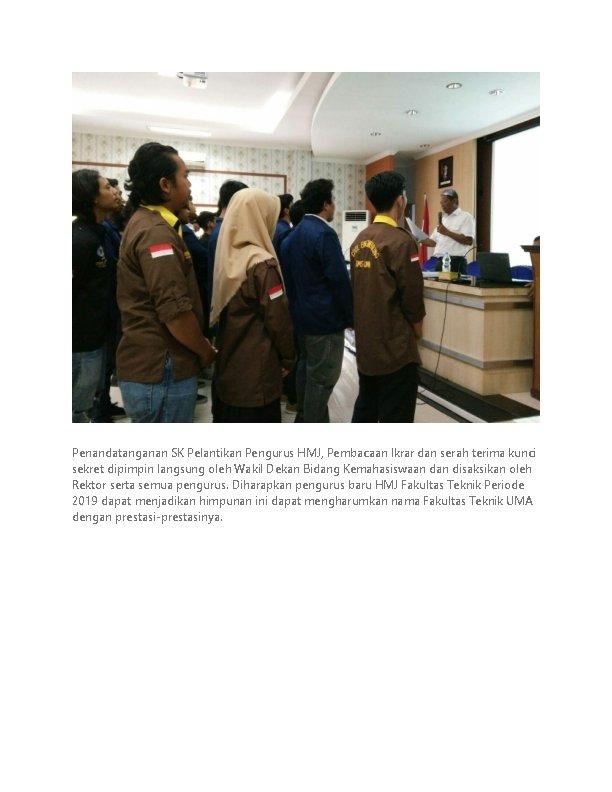 Penandatanganan SK Pelantikan Pengurus HMJ, Pembacaan Ikrar dan serah terima kunci sekret dipimpin langsung