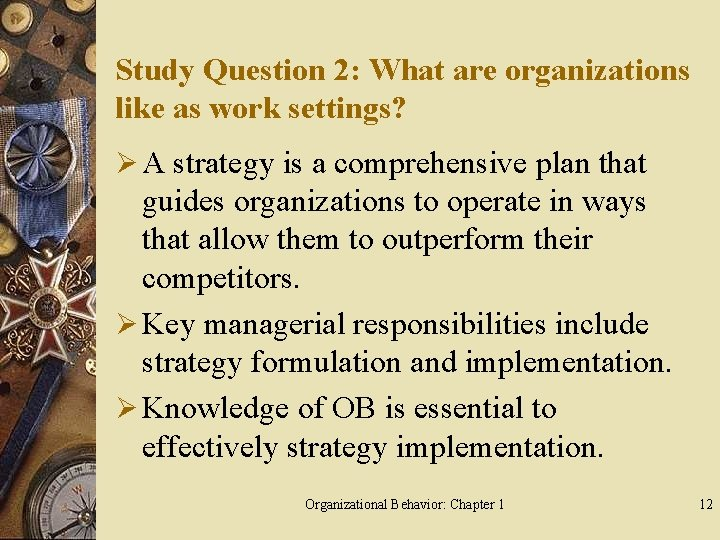 Study Question 2: What are organizations like as work settings? Ø A strategy is