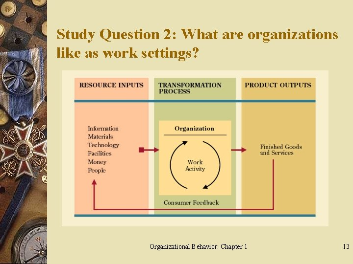Study Question 2: What are organizations like as work settings? Organizational Behavior: Chapter 1