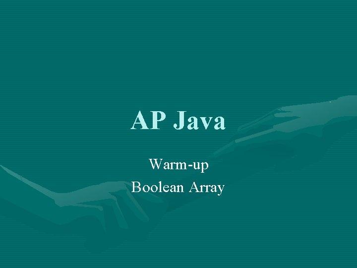 AP Java Warm-up Boolean Array