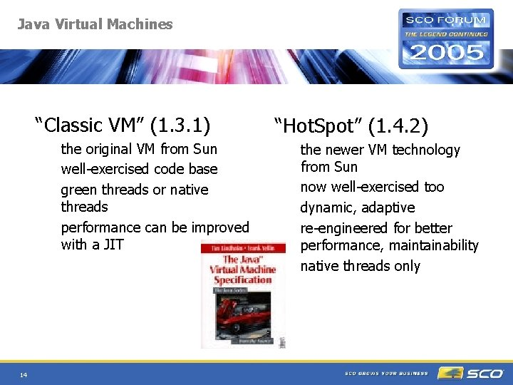 """Java Virtual Machines """"Classic VM"""" (1. 3. 1) the original VM from Sun well-exercised"""