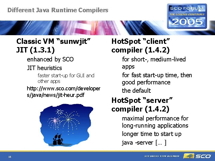 """Different Java Runtime Compilers Classic VM """"sunwjit"""" JIT (1. 3. 1) enhanced by SCO"""