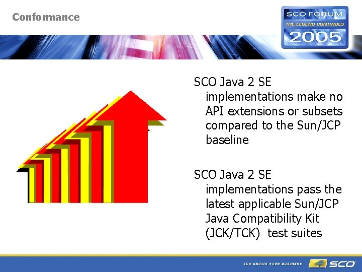 Conformance SCO Java 2 SE implementations make no API extensions or subsets compared to