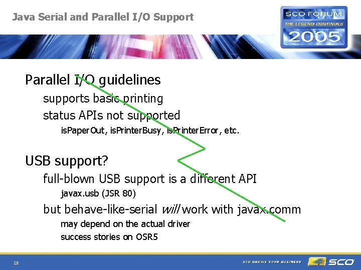 Java Serial and Parallel I/O Support Parallel I/O guidelines supports basic printing status APIs