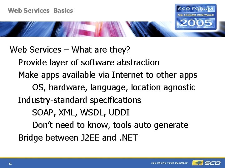 Web Services Basics Web Services – What are they? Provide layer of software abstraction