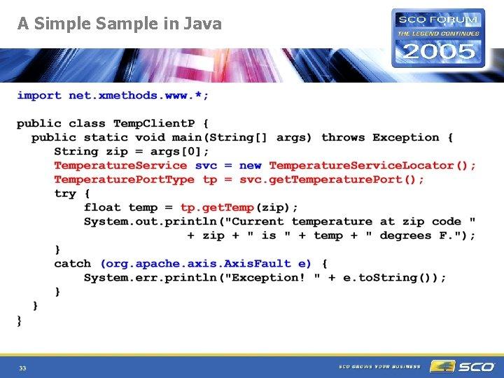 A Simple Sample in Java 33