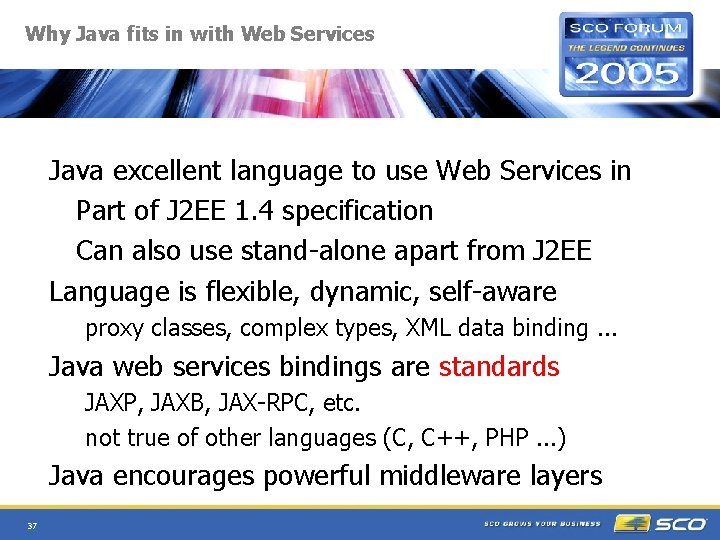 Why Java fits in with Web Services Java excellent language to use Web Services