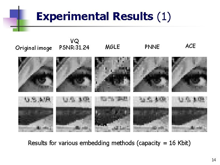 Experimental Results (1) Original image VQ PSNR: 31. 24 MGLE PNNE ACE Results for