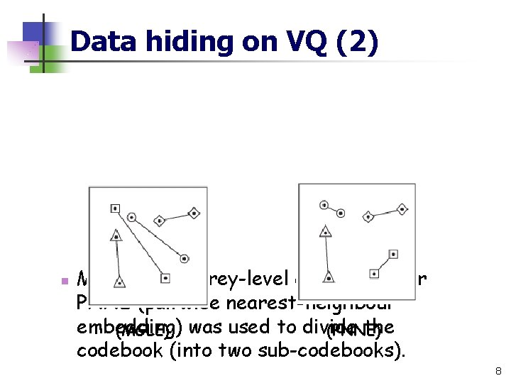 Data hiding on VQ (2) n MGLE (mean grey-level embedding) or PNNE (pairwise nearest-neighbour