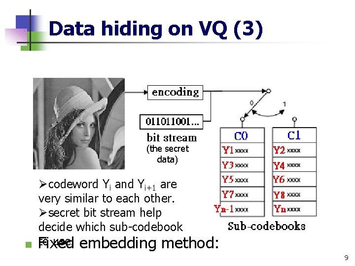 Data hiding on VQ (3) (the secret data) Øcodeword Yi and Yi+1 are very