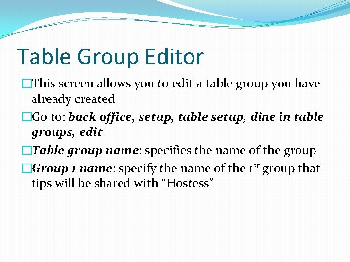 Table Group Editor �This screen allows you to edit a table group you have