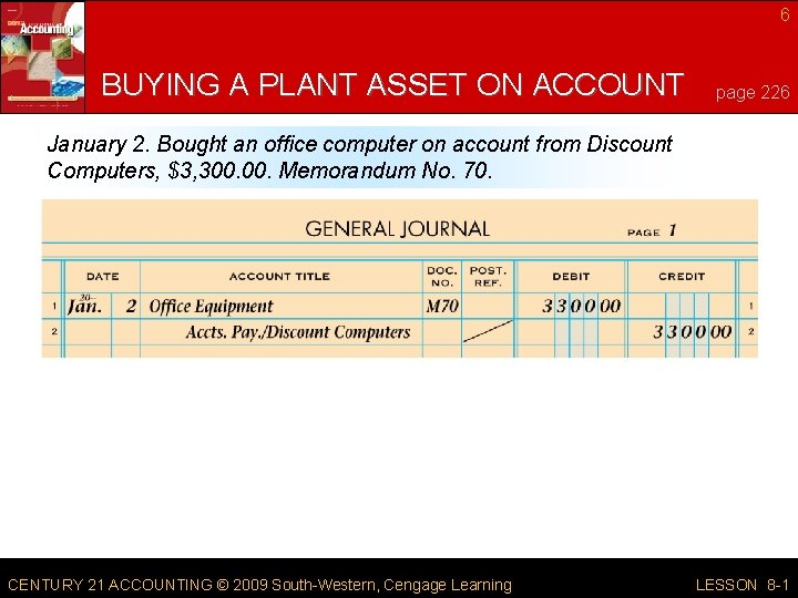 6 BUYING A PLANT ASSET ON ACCOUNT page 226 January 2. Bought an office