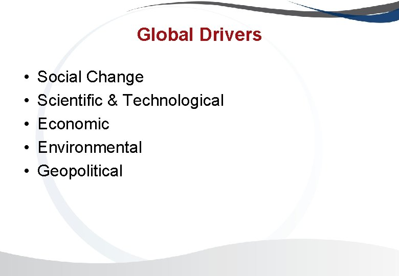 Global Drivers • • • Social Change Scientific & Technological Economic Environmental Geopolitical