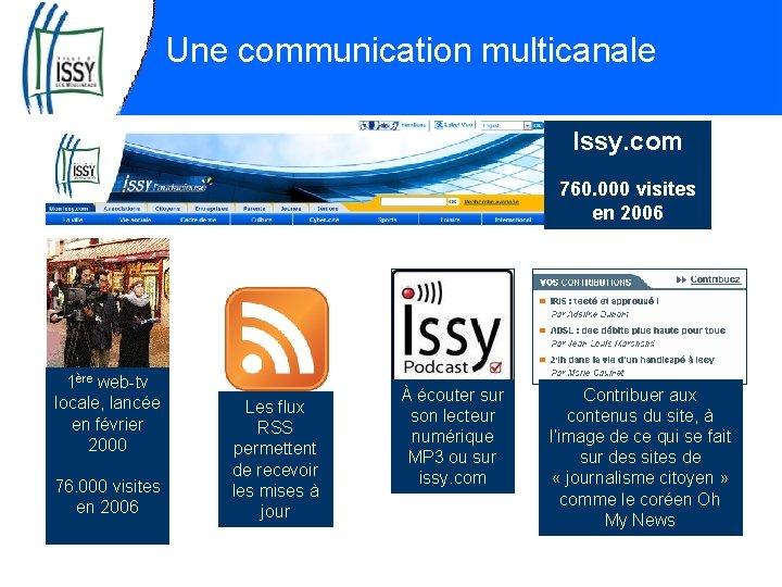 Une communication multicanale Issy. com 760. 000 visites en 2006 1ère web-tv locale, lancée
