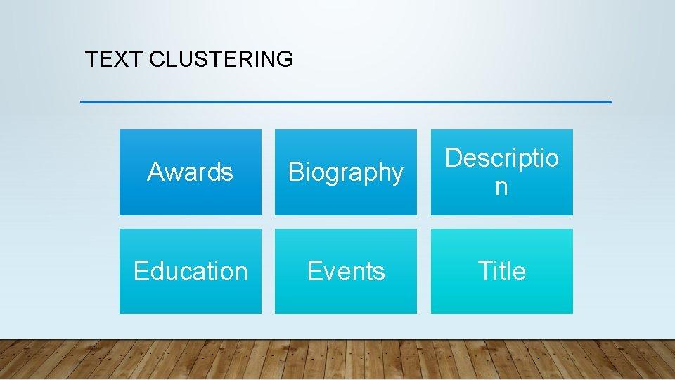 TEXT CLUSTERING Awards Biography Descriptio n Education Events Title