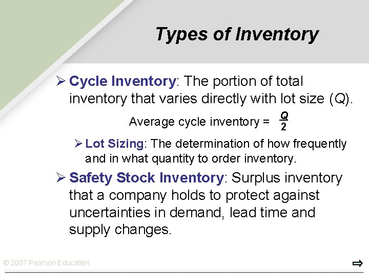 Types of Inventory Ø Cycle Inventory: The portion of total inventory that varies directly