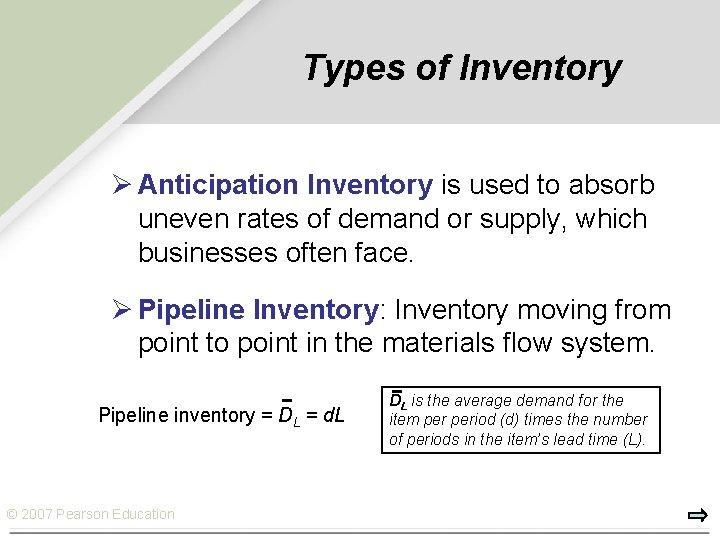 Types of Inventory Ø Anticipation Inventory is used to absorb uneven rates of demand