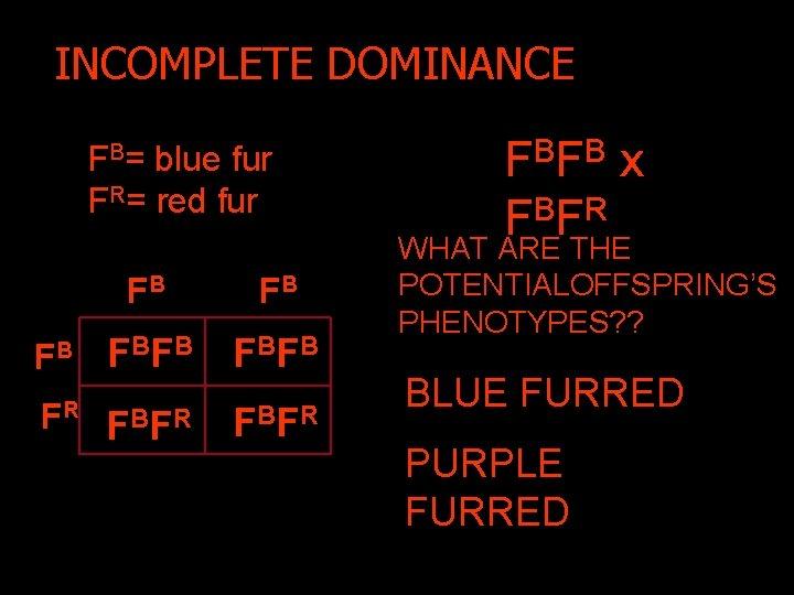 INCOMPLETE DOMINANCE FB= blue fur FR= red fur FB FB F BF B FR
