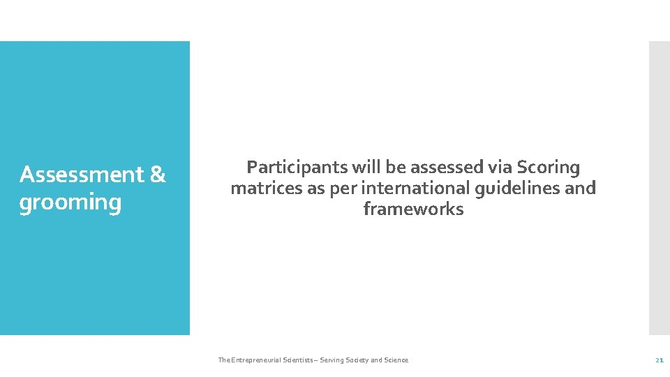 Assessment & grooming Participants will be assessed via Scoring matrices as per international guidelines