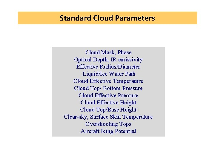 Standard Cloud Parameters Cloud Mask, Phase Optical Depth, IR emissivity Effective Radius/Diameter Liquid/Ice Water