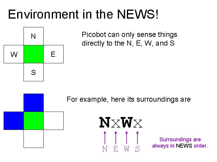 Environment in the NEWS! Picobot can only sense things directly to the N, E,