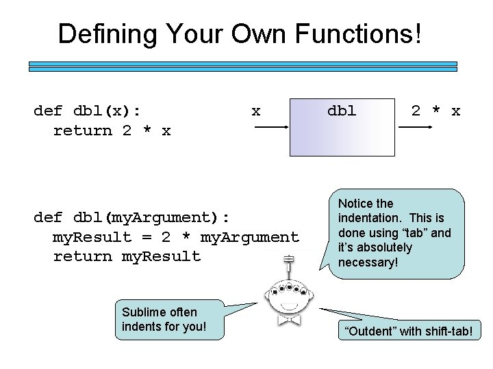 Defining Your Own Functions! def dbl(x): return 2 * x x def dbl(my. Argument):