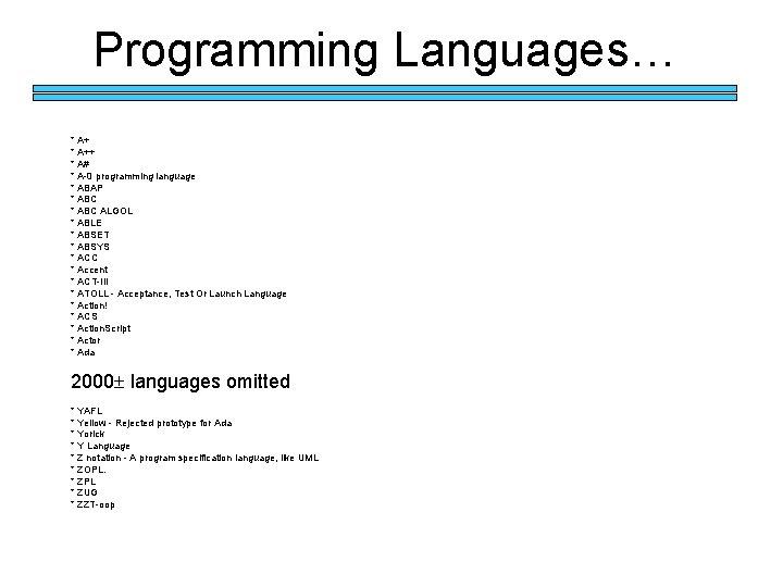 Programming Languages… * A++ * A# * A-0 programming language * ABAP * ABC