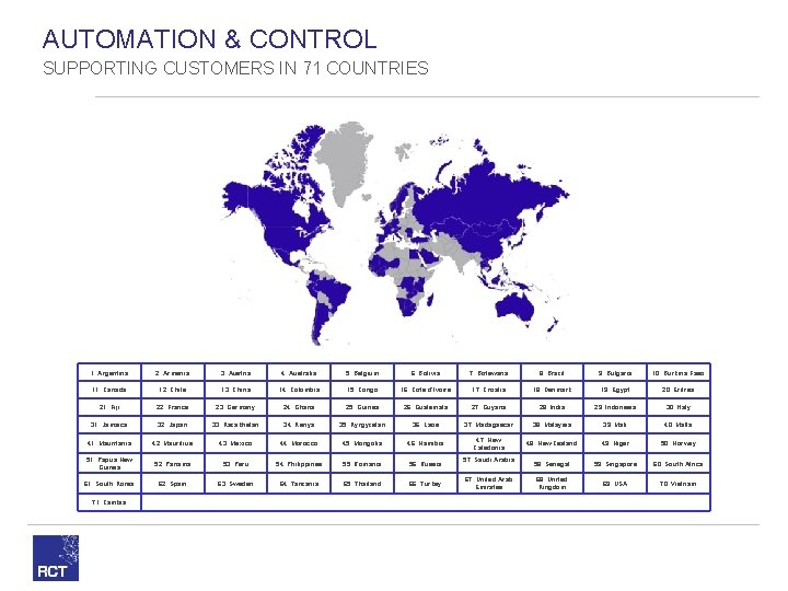 AUTOMATION & CONTROL SUPPORTING CUSTOMERS IN 71 COUNTRIES 1. Argentina 2. Armenia 3. Austria