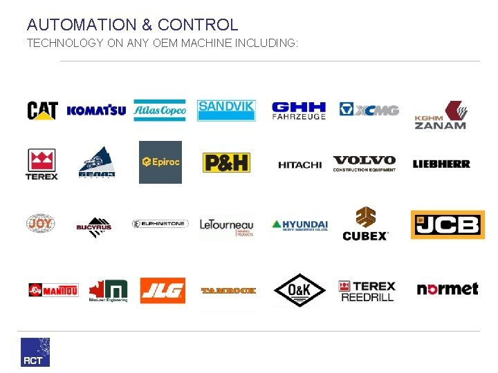 AUTOMATION & CONTROL TECHNOLOGY ON ANY OEM MACHINE INCLUDING: