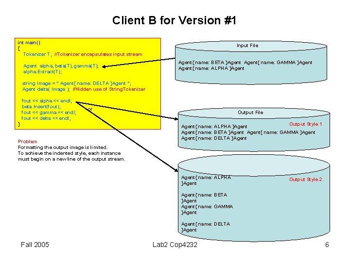 Client B for Version #1 int main() { Tokenizer T; //Tokenizer encapsulates input stream