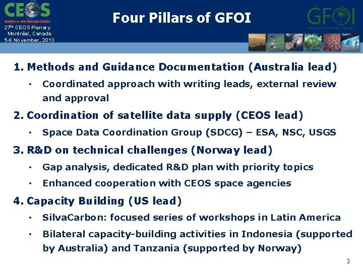 27 th CEOS Plenary Montréal, Canada 5 -6 November, 2013 Four Pillars of GFOI