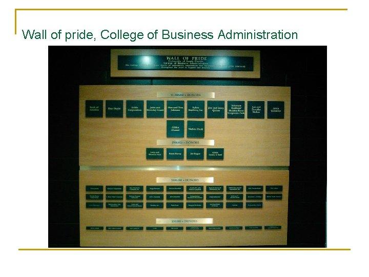 Wall of pride, College of Business Administration