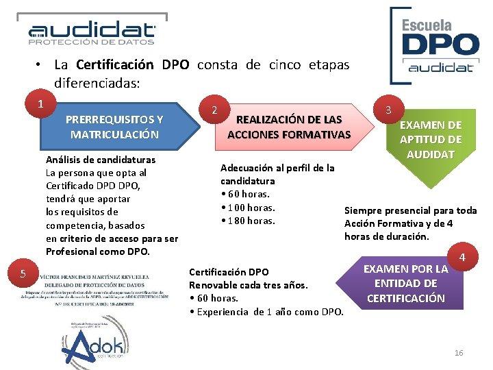 • La Certificación DPO consta de cinco etapas diferenciadas: 1 PRERREQUISITOS Y MATRICULACIÓN