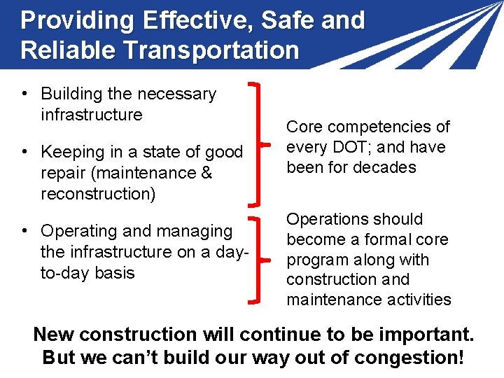 Providing Effective, Safe and Reliable Transportation • Building the necessary infrastructure • Keeping in