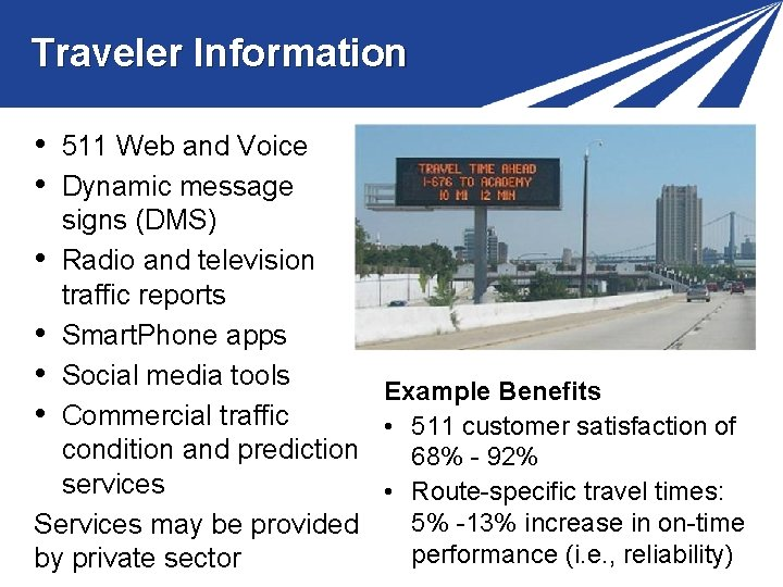 Traveler Information • • 511 Web and Voice Dynamic message signs (DMS) • Radio