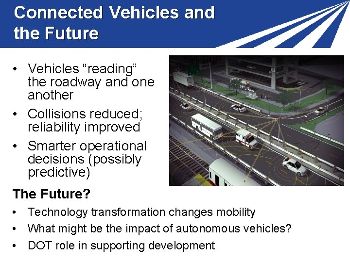 """Connected Vehicles and the Future • Vehicles """"reading"""" the roadway and one another •"""