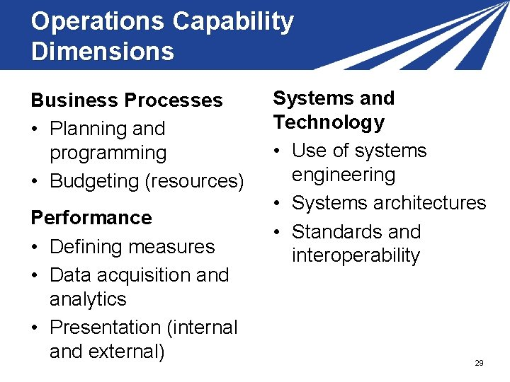 Operations Capability Dimensions Business Processes • Planning and programming • Budgeting (resources) Performance •